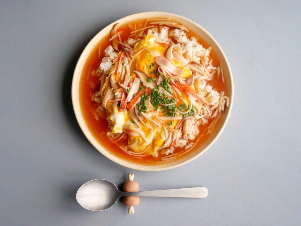 天津飯,白陶皿,マンガ肉箸置き